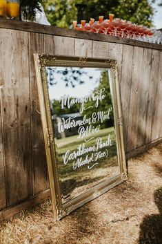Mirrored Wedding Sign for Personalised Cocktails | By Colin Ross Photography | Wedding Sign | Wedding Drinks | Mirrored Sign | DIY Wedding Sign | Babnington House Wedding | Wedding Bar Rustic Wedding Signs, Wedding Signage, Diy Wedding, Wedding Day, Babington House, Diy Signs, Cocktails, Boards, Wedding Photography