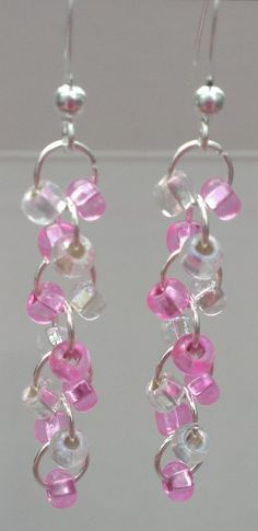 $9.99 FREE SHIPPING! 5 Different Colors to Chose from! Pink, Purple, Blue, Green and Yellow! Glass Beaded Dangle Earrings by MysteryDealMichelle