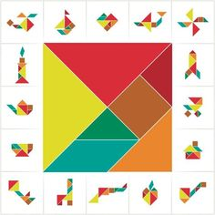 Collection of printable tangram solution cards. 16 objects and a square made of tiling tangram pieces, geometric shapes. Learning game for kids, ancient Chinese puzzle. Tangram Puzzles, Logic Puzzles, Kindergarten Activities, Activities For Kids, Preschool, Board Games For Kids, Kids Board, Shapes For Kids, Brain Games