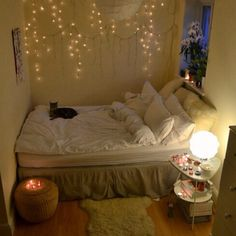 CANDLE HOLDER, FAIRY LIGHTS, BEDSIDE TABLE