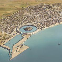 possible reconstruction of the city of Atlantis Fantasy City Map, Fantasy World Map, Fantasy Castle, Fantasy Places, Futuristic Architecture, Historical Architecture, Ancient Architecture, Fantasy Art Landscapes, Fantasy Landscape