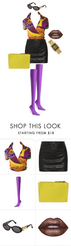 """""""Untitled #43"""" by murdermocha ❤ liked on Polyvore featuring Shanghai Tang, Sara Berman, Balenciaga, Versus, Versace and Lime Crime"""