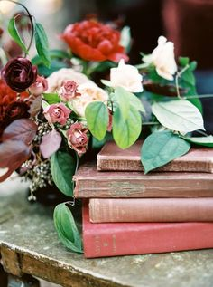 Vintage Books and Organic Flowers | Taralynn Lawton Photography | http://heyweddinglady.com/moody-dark-fairy-tale-wedding-shoot-mountains/
