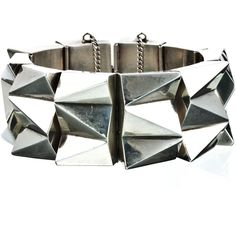 Alexis Bittar 1970's Hollowed Sterling Silver Punk Cuff ($2,200) ❤ liked on Polyvore
