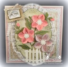 Card made by DT member Thea with Collectables Eline's Helleboras (COL1394), Creatables Oval & Pop-Up (LR0371) and Fence (LR0205) by Marianne Design