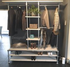Different way to organize clothing rods and shelves. Too much pipe though too costly. Ikea Closet, Laundry Closet, Closet Space, Walk In Closet, Open Wardrobe, Wardrobe Rack, Bedroom Bed Design, Bedroom Decor, Portable Wardrobe