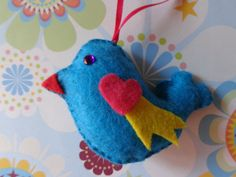 Blue Jay Way Bird Ornament by Pepperland on Etsy, $6.00