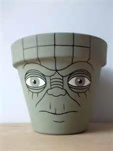 Yoda Star Wars Hand Painted Flower Pot