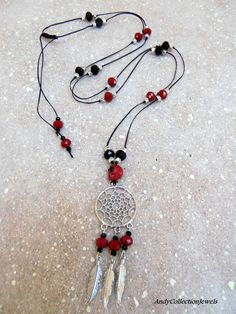 Halloween Women's Black and Burgundy Long Necklace with Skull, Dreamcathcer and Feathers Halloween Men, Halloween Jewelry, Greek Jewelry, Feathers, Burgundy, Jewelry Design, Women Jewelry, Skull, Sterling Silver