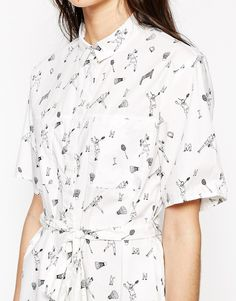 Image 3 of Monki Shirt Dress In Conversational Print