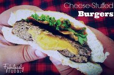 Cheese-stuffed bacon burgers. Total man-pleaser of a burger!