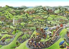 Le Grand Depart - a look ahead to the Tour De France in Yorkshire Cycling Art, White Roses, Yorkshire, Comic Art, Golf Courses, England, Tours, World, Places