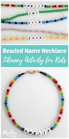DIY beaded name necklace literacy activity for young children - Have your child learn to recognize and spell their name while making beautiful jewelry they can wear! Stringing beads is a fine motor activity that will help children strengthen the fine moto Star Jewelry, Kids Jewelry, Beaded Jewelry, Beaded Bracelets, Jewelry Making Kids, Childrens Jewellery, Making Bracelets, Glass Jewelry, Jewelry Crafts