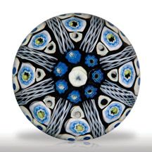 Strathearn patterned millefiori with latticinio tubes paperweight.
