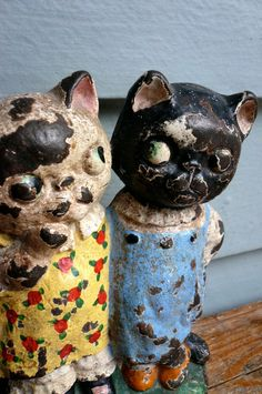 Antique Door Stop Cast Iron Kitty Friends 1920s