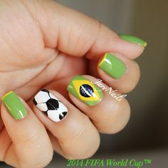 Brazil World Cup Nails. Soccer nails. Futbol,