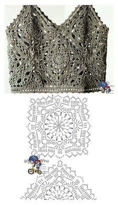 Mode Crochet, Crochet Diy, Crochet Shirt, Crochet Motif, Crochet Crafts, Crochet Stitches, Crochet Projects, Crochet Tops, Russian Crochet