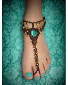 Turquoise Stone Macrame Barefoot Sandal