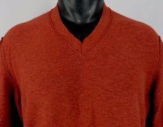 Banana Republic Heritage Mens L Tall V-Neck Sweater 100% Cotton Red LS Very Nice #BananaRepublicHeritage #VNeck