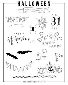 free hand-drawn halloween clip art