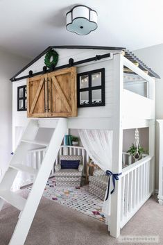 How To Build A DIY Sliding Barn Door Loft Bed Full Size Adorable kids room with amazing loft bed with sliding barn doors! The post How To Build A DIY Sliding Barn Door Loft Bed Full Size appeared first on Welcome! Cute Bedroom Ideas, Girl Bedroom Designs, Awesome Bedrooms, Bedroom Decor Kids, Loft Bedroom Kids, Kid Decor, Bedroom Ideas For Tweens, Girls Bedroom With Loft Bed, Childrens Bedroom Ideas
