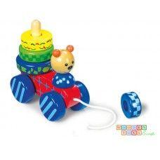 Ursulet cu piramida si snur de tras Toy Craft, Wooden Toys, Children, Crafts, Wooden Toy Plans, Wood Toys, Young Children, Boys, Manualidades