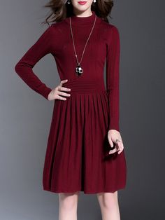 Shop Midi Dresses - Red Pleated Long Sleeve Acrylic Turtleneck Midi Dress online. Discover unique designers fashion at StyleWe.com.