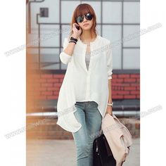 Wholesale Casual Scoop Neck Long Sleeves Solid Color Shorter Front Buttons Chiffon Blouse For Women (WHITE,ONE SIZE), Blouses - Rosewholesale.com