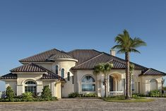 This mediterranean design floor plan is 6079 sq ft and has 5 bedrooms and has 6 bathrooms. Craftsman House Plans, Modern House Plans, Small House Plans, House Floor Plans, Mediterranean House Plans, Mediterranean Design, Custom Home Plans, Custom Homes, Spanish Style Homes