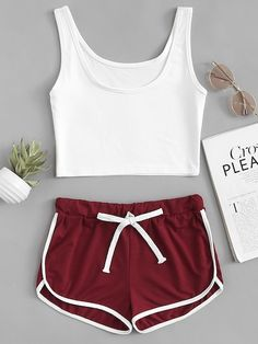 Shop Scoop Neck Top With Drawstring Shorts online. SHEIN offers Scoop Neck Top With Drawstring Shorts & more to fit your fashionable needs. Adrette Outfits, Cute Lazy Outfits, Pajama Outfits, Summer Outfits For Teens, Neue Outfits, Crop Top Outfits, Preppy Outfits, Yoga Outfits, Fitness Outfits