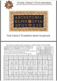 The Great Pumpkin Mini Sampler ~ Freebie from Stone Street Stitchworks Fall Cross Stitch, Geek Cross Stitch, Cross Stitch Samplers, Cross Stitch Charts, Cross Stitching, Cross Stitch Patterns, Stone Street, Cross Stitch Freebies, Halloween Cross Stitches