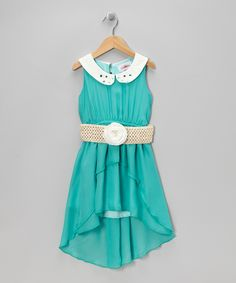 Teal Belted Hi-Low Dress - Toddler & Girls | Daily deals for moms, babies and kids