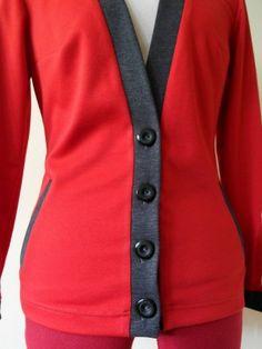 Czerwono - szary sweter / red and gray cardigan