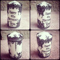 Customized birthday gift - Henna (mehndi) design candle