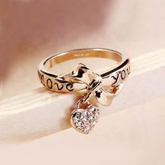 New Fashion Gold Plated Bowknot And Crystal Heart Women's Ring - USD $15.95