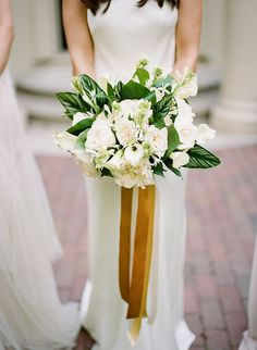 Beautiful White and Green wedding bouquet   Green and Gold Estate Wedding - Inspired by This