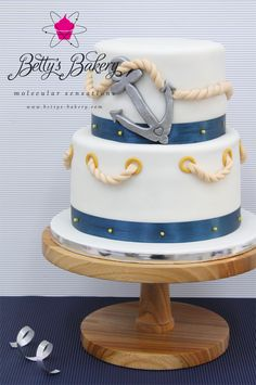 "- Nautical Weddingcake for beautiful swedish sailor couple Victoria & Daniel who got married this weekend in Barcelona.  Stand ""Elm"" from Betty's Cake Stands – BCS, ""Wood"" collection  You can follow me as well on my ""Facebook"" pages:  https://www.facebook.com/pages/Bettys-Bakery-molecular-sensations/173590466028642  https://www.facebook.com/BettysCakeStands  Thanks for looking :)"