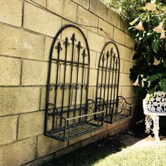 Wrought Iron Wall Flower Planter SET Of 2 Garden Planters Set Baskets French Fleur De Lis By NewLife4OldTreasures