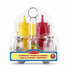 Melissa & Doug Let's Play House! Condiment Set (Pretend Play, Sturdy Metal Caddy, Realistic Sound Effects, 6 Pieces) Kids Play Kitchen, Toy Kitchen, Kitchen Sets, Kids Role Play, Pretend Play, Arquitectos Zaha Hadid, Condiment Sets, Melissa & Doug, Play Food