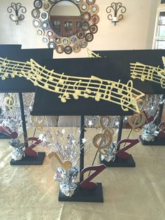 Modern Origami Centerpieces - Pinious [dot] com Modern Origami Centerpieces Appealing Music Centerpieces Pinteres Theme Decorations Raysa House within [keyword Music Centerpieces, Origami, 65th Birthday, Practical Gifts, Grad Parties, Unusual Gifts, Bat Mitzvah, Diy Hacks, Decorative Items