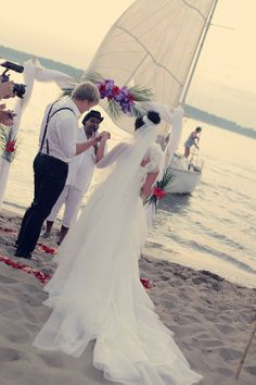 Custom made dress for a beach wedding