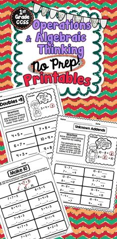 This product contains 43 no prep math printables. All 43 pages are aligned to the Common Core Math standards in the Operations and Algebraic Thinking domain for 1st Grade. #MaVi
