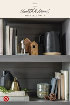 Small objects can add a lot of personality––like these galvanized goat bookends, wood nesting houses and vintage bell. They add a finishing touch to your shelves, buffet or dining table. Add everyday objects with personal meaning to make it feel extra special. Hearth & Hand™ with Magnolia, only at Target.