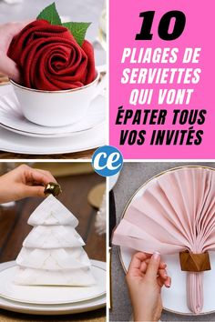 Looking for easy ideas for folding your napkins? That is true. - Looking for easy ideas for folding your napkins? It is true, to make a beautiful table, there is no - Christmas Centerpieces, Christmas Desserts, Napkin Folding Flower, Serviettes Roses, Ostern Party, Christmas Trends, Cookie Do, Cookies Policy, Vanilla Cake