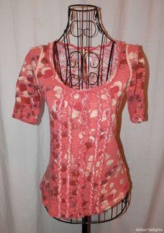 C. KEER TOP XS Orange Pink Red Ruffles Scoop Neck Short Sleeve ANTHROPOLOGIE #CKeer #KnitTop #Casual