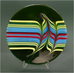 "Combed Plate - 12.5"" Fused and combed glass plate $250.00"