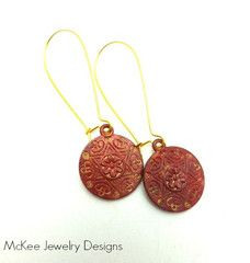 Red and Gold Mandala style earrings, gold ear wire, mandala charm patina, bohemian jewelry