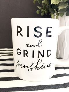 "Get up and get going with this super cute ""Rise & Grind"" coffee mug. If you're going to be up at the crack of dawn, you might as well drink your daily infusion of caffeine out of something adorable. *"