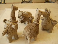 Clay Llamas...how cool are these. Third graders created these.
