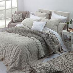 Laundered Linen Full/queen Comforter Set In Natural - Bedroom - Bedding Master Bedroom Queen Comforter Sets, Linen Bedding, Yellow Bedding, Black Bedding, Paisley Bedroom, Bedspreads Comforters, Bedroom Comforters, Bedding Inspiration, Quartos
